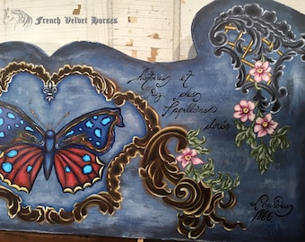 FRENCH GILDED BUTTERFLY wood sign painting, Shakespeare quote, Aubusson ornaments, french blue, shabby chic cottage, french script, papillon