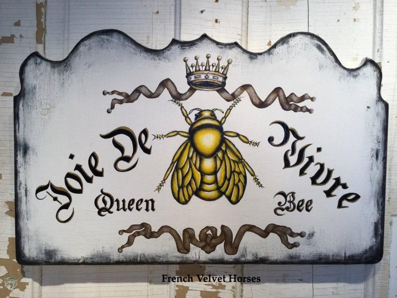 Joie De Vivre French Joy Of Life Wood Sign Queen Bee Sign Etsy