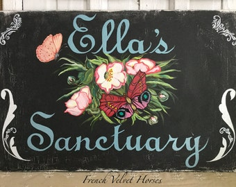 SANCTUARY WOOD SIGN bedroom, office, private space,wall sign, door sign, botanical  flower painting, butterflies, pastel, personalized