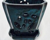 Square Ceramic Orchid Pot Saucer Felt Feet - 5 quot x 5 1 8 quot -Tropical Blue 14695