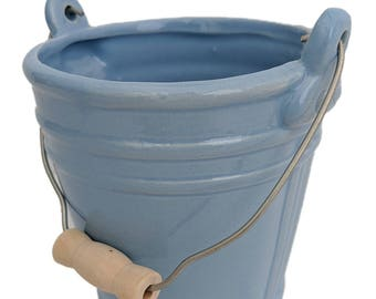 "Blue Ceramic Pail Planter - 3.25"" x 4.25"
