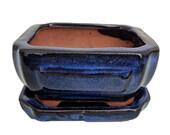 Small Ceramic Bonsai Pot plus Saucer -CobaltFancyRect-4 quot x 3 3 8 quot x 2 quot - 14680