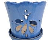 Butterfly Ceramic Orchid Pot Saucer 8 quot x 7 3 8 quot - Blue - 50250