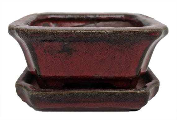 """Lovely Bonsai Pot /& Saucer Small 4/"""" long NEW Red Oval"""