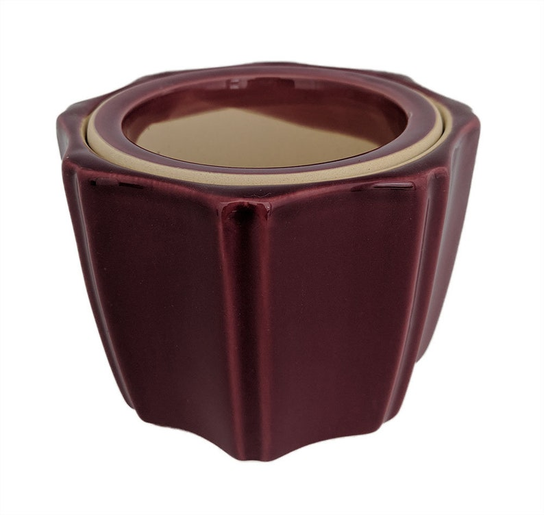 Octagon Self Watering Glazed Ceramic Pot - Plum - 5 1/4 x 4 1/4