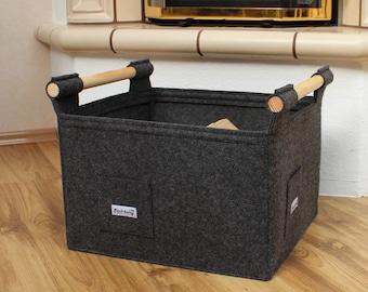 Strong and sturdy log basket M dark grey felt