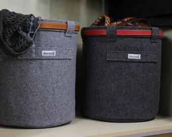 Felt Storage Basket, Wastepaper Basket, Storage Basket, Felt Bin, Stich-haltig Felt Basket