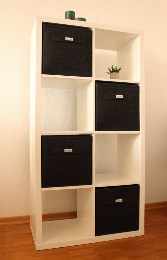 online store 37c59 69f68 Dark grey felt boxes fit into Ikea Expedit and Kallax, Felt storage basket  for a shelves, Custom-made felt storage boxes