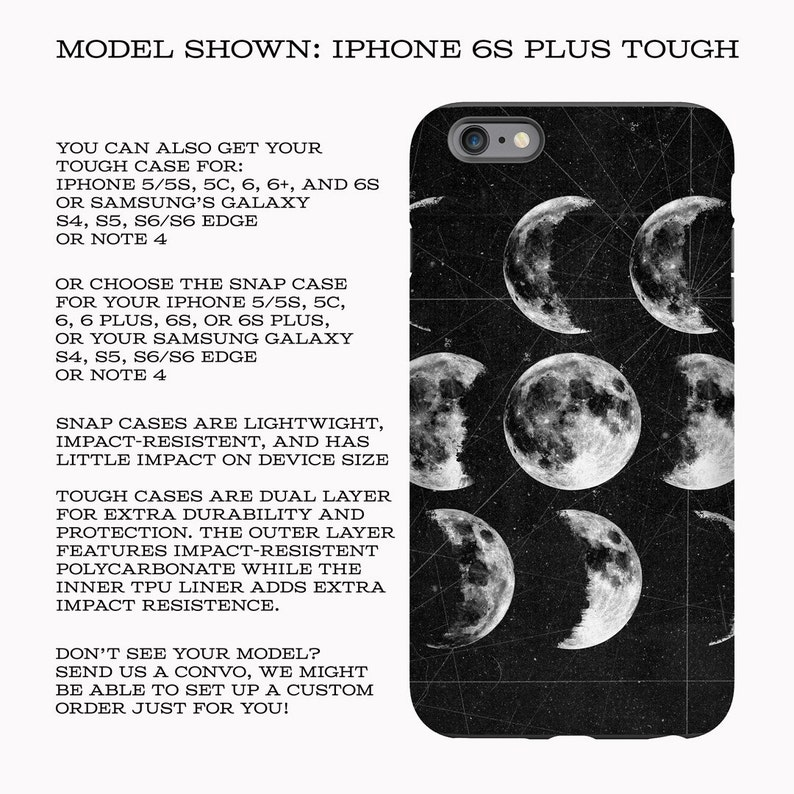 9 Moons Phone case, tough or snap case, iPhone & Samsung Galaxy cases, gift  phone case