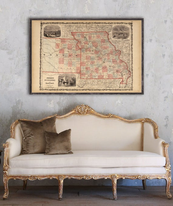 1862 Johnson\'s Missouri and Eastern Kansas, Vintage map reprint -4 large/XL  sizes up to 54 x x36\