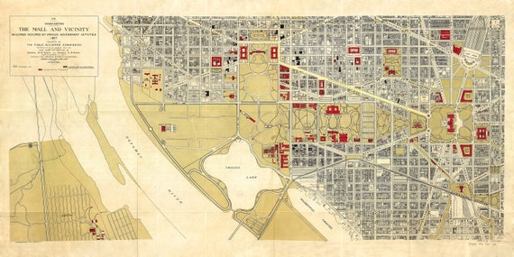 1917 Washington DC National Mall map reprint, 4 Large/XL sizes up to on dc rock creek park map, dc penn quarter map, dc verizon center map, dc monuments map to print, dc pentagon map, dc cherry blossom festival map, dc metro map, dc capitol hill map, wash dc mall area map, dc federal triangle map, dc providence hospital map, dc united states map, dc national zoo map, brochure of dc attractions map, dc nationals stadium map, dc foggy bottom map, dc mall map museums, dc cleveland park map, dc capitol building map, dc union station map,