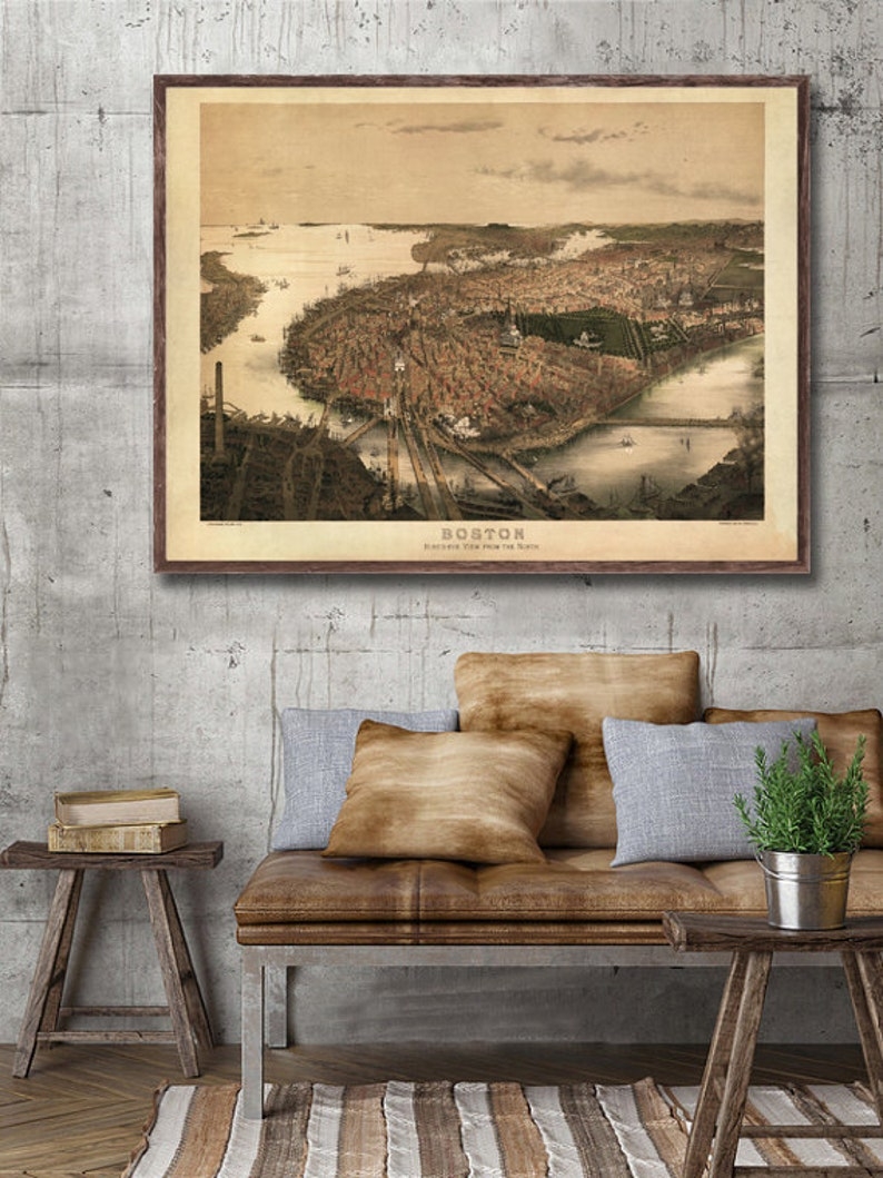 1877 Boston Panorama Vintage Map Home Decor Reprint
