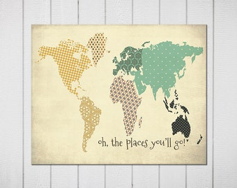 Oh, the Places you'll Go! #2 Family Room playroom print Kids wall art World map  . Modern Home, Kids Room , or Office Decor