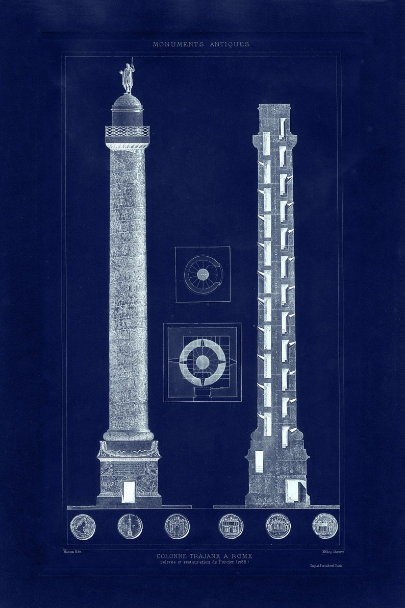 rustic Italian architecture reprint comes unframed 5 largeXL sizes up to 54 x 36-in 3 color versions 1890 Trajan/'s Column reprint