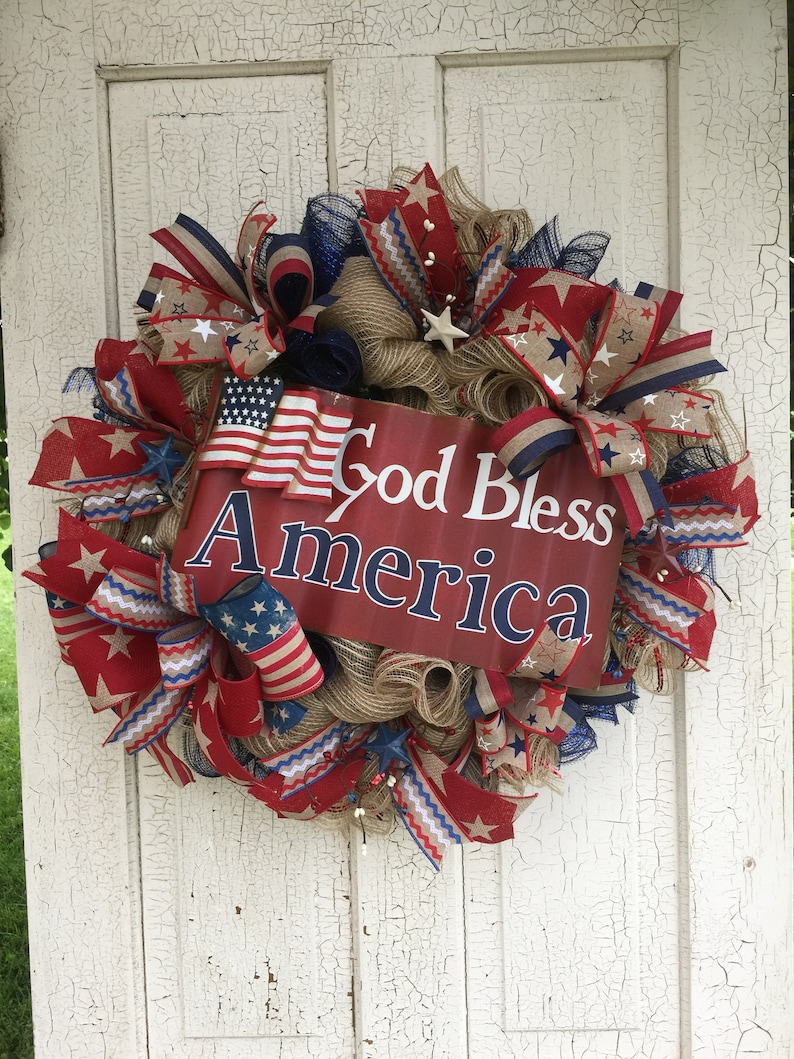 Patriotic Wreath Fourth of July Wreath  Memorial Day Wreath Patriotic Grapevine Red White Blue Wreath Veterans Wreath Patriotic Decor