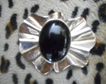 Sterling and Black Onyx Brooch