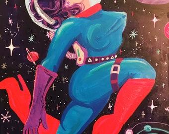 Atomic AstroBabe Original Painting