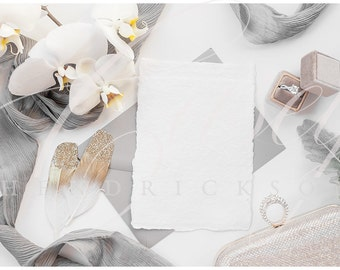 Download Free Gray, Gold, White deckled edge stationery mockup for wedding stock photo with orchids PSD Template