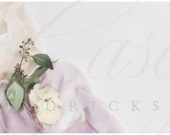 Download Free Just florals with silk ribbon mockup stock photo PSD Template
