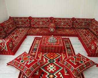 U shaped sofa set, flooor seating,Arabic majilis,floor couch,oriental floor seating, Ottoman couch , ethnic sofa, bohemian furniture,