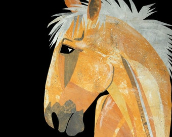 """Palomino Horse - Art Print from Original Paper Collage, Flaxen Mane, 8x8"""", Yellow Wall Art, Home Decor"""