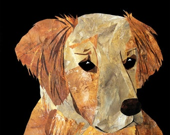Golden Retriever - Dog Art Print from Original Paper Collage, Black and Red-Brown, Adorable, Animal Lover Gift, Elaine's Lucy