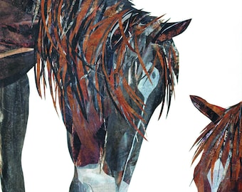 """Western Decor - Horse Print, Contemporary Art, From Original Paper Collage, Brown Wall Art, 13x19"""", Horse Gift, Animal Art, Home Decor"""
