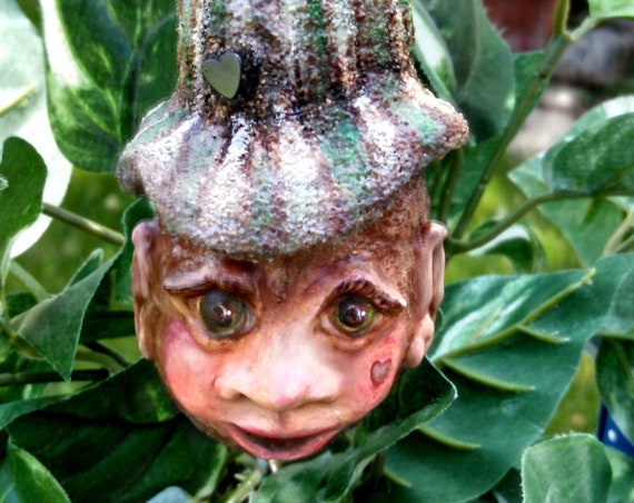 Wood elf real egg sculpture real egg ornament egg figurines original art brown green miniature gourd sculpture hand carved fantasy creatures