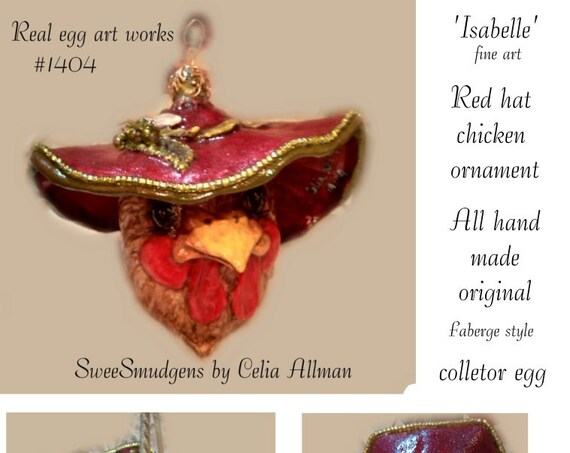 Red hat chicken ornament real egg art work Faberge style hen sculpture hand carved fine art brown red green yellow gold collector original