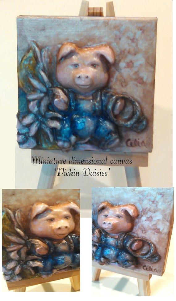 Original miniature hand sculpted little pig in pink daisy garden hand painted canvas handmade sculpture 3 x 3 with tiny easel 3-D canvas art