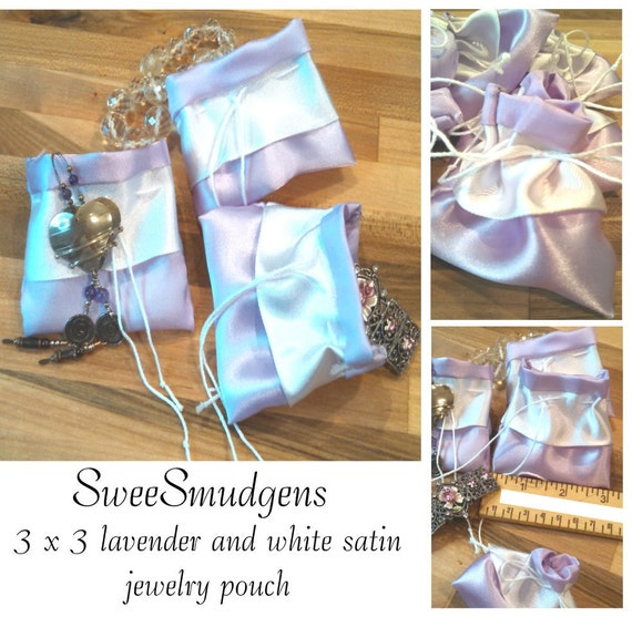 Lavender and white satin 3 x 3 mini gift bag drawstring pouch jewelry storage earring bag cloth bags wedding favor bridesmaid perfume sachet
