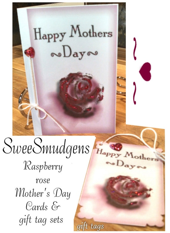 Raspberry rose Mothers day card and gift tag sets pink roses pink hearts romantic stationary customized stationary favor tag floral hang tag