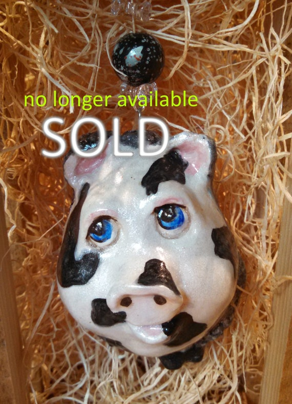 Black and white pig real egg ornament hand carved hand painted cute pig Faberge style collector egg real egg sculpture country Christmas