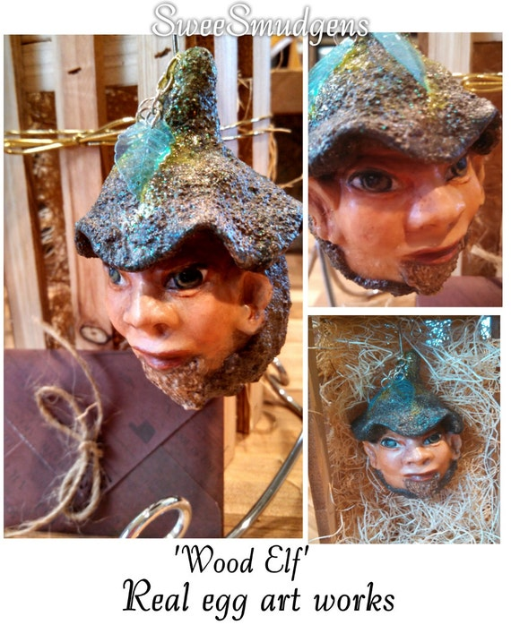 Woodland caricature bearded wood elf hand carved fantasy creature real egg sculpture miniature gourd Christmas ornament collectible unique