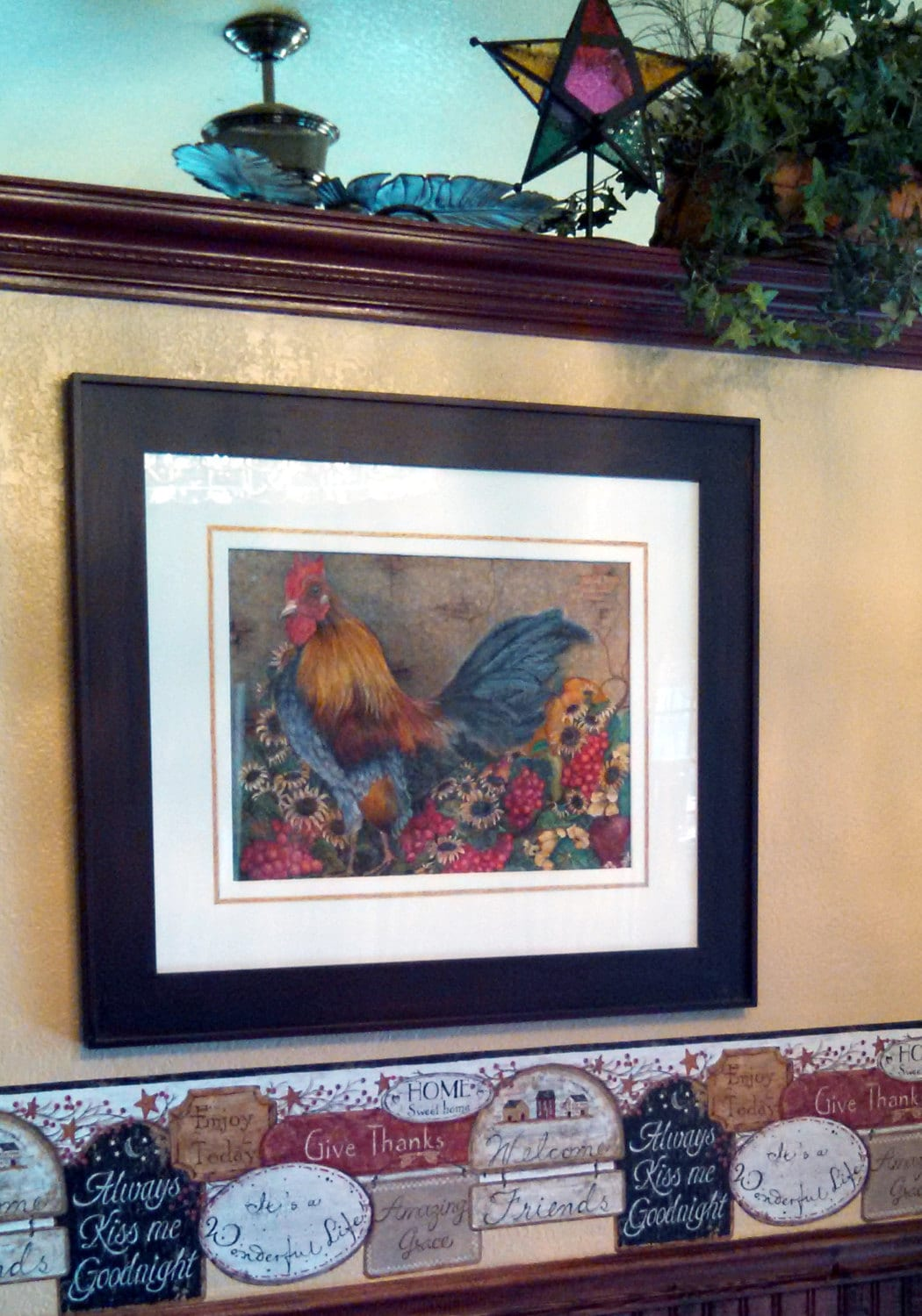 Country Rooster Prints Dining Room Decor Fine Art Chicken Kitchen
