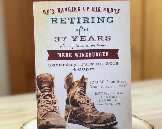 Retirement Construction, Military, Party Invitation, Army Man Woman, Rugged, Editable Event Invite Template, Boss, Vintage