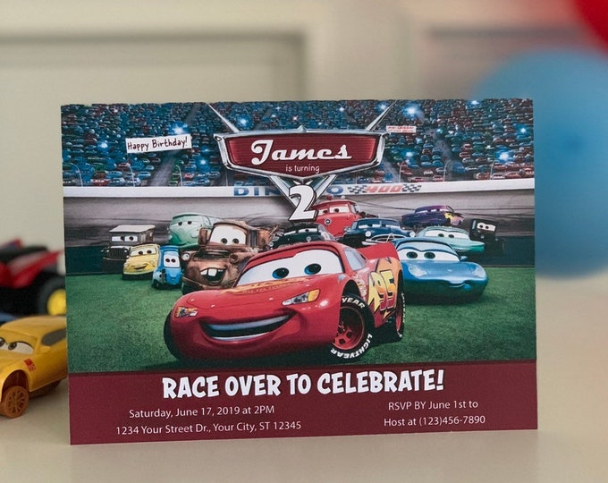 Cars Birthday Party Invitation, Boy or Girl Super Hero Invite, Lighting McQueen Theme, Mater Sally Race car, Printable, Download Theme