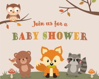 Fox and Friends Invite, Woodland Theme Baby Shower Invitation, Fox with Bow Tie, boy girl Themed Invite, Gender Neutral, baby reveal, print