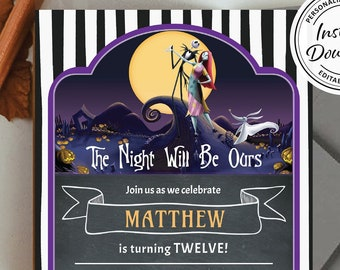 Nightmare Before Christmas Party Invite | Halloween Themed Printable Invitation Idea | Jack and Sally Costume Chalk Blackboard Edit Instant
