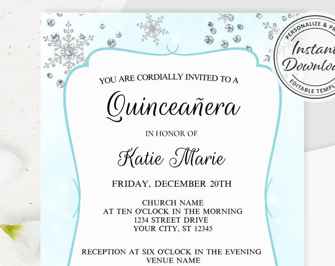Winter Wonderland Party Invitation, Printable Quinceañera with Shimmer Snowflake details Themed Invite, Calligraphy lettering, Simple Design