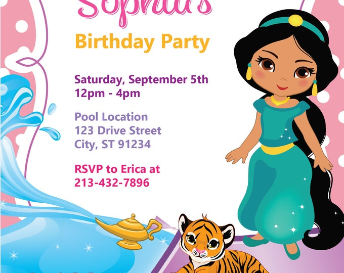 Baby Princess Jasmine Birthday Invite, Aladdin Pool Party Invitation, Magic Lamp Carpet Theme, Arabian Middle Eastern, Raja Editable Ideas