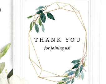 Eucalyptus Thank You Print, Watercolor faux gold marble ideas
