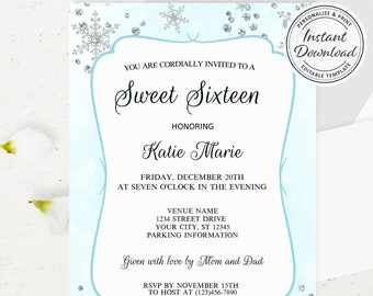 Winter Wonderland Themed Party Invitation, Printable Sweet Sixteen Invite with Shimmer Snowflake Detail Calligraphy Lettering, Class Design