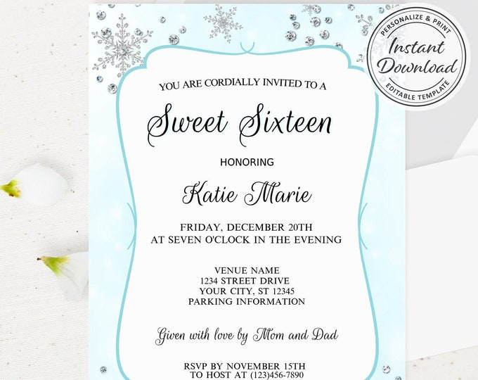 Sweet Sixteen Winter Wonderland Theme Invitation, Elegant Cute 16 Invite, Shimmer Silver Snowflakes, Fairytale Cinderella Template Idea Edit