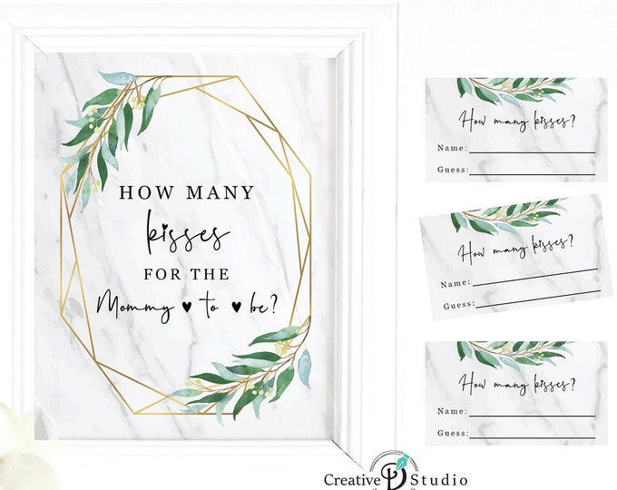 Eucalyptus Guess How Many Kisses in the Jar, Guessing Baby Shower Chocolate Candy Game, Printable Games,  Watercolor faux gold marble ideas