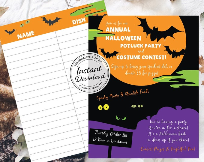 Halloween Potluck Flyer with Sign-Up Sheet | Editable Digital Template | Personalize and Print | Carving and Costume Contest Corporate Idea
