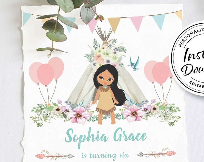 Boho Chic Birthday Invitation | Pocahontas Birthday Party | Princess Invitation | Native American | Pocahontas Party | Pocahontas Invite