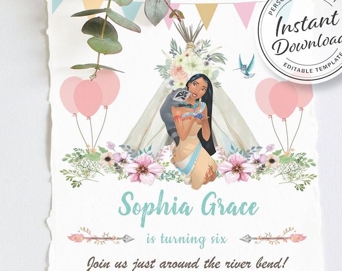 Boho Chic Birthday Invitation   Pocahontas Birthday Party   Princess Invitation   Native American   Pocahontas Party   Pocahontas Invite
