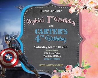 Combined Party Invitation, Joint Boy Captain America Hero, Girl Watercolor flowers Pink Gold party invite, Invitations PDF Editable Idea