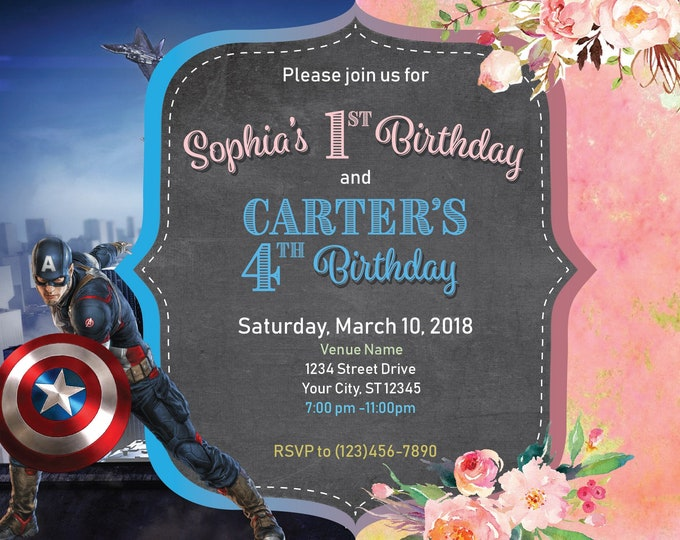 Combined Party Invitation, Joint Boy Captain America Hero, Girl Watercolor flowers Pink Gold party invite, Invitations PDF Editable Print